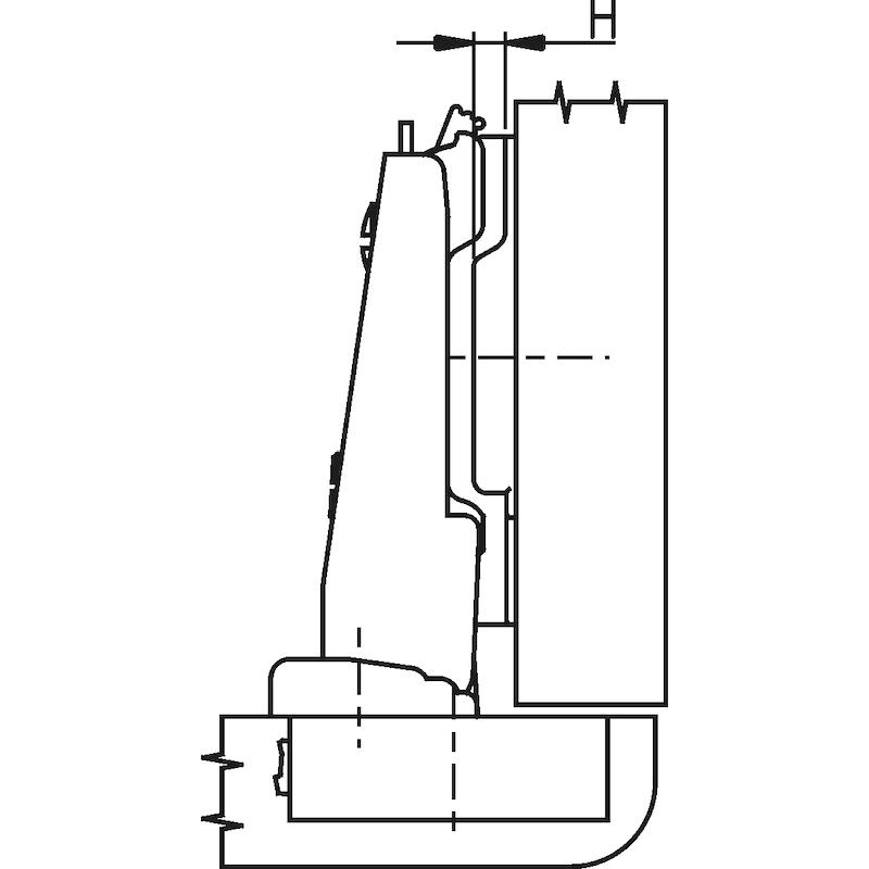 Nábyt. záves Nexis Impresso, roh. doraz 110° - NABYT-KOVANIE-NEXIMP-45/42-AUTM-CRN-110D
