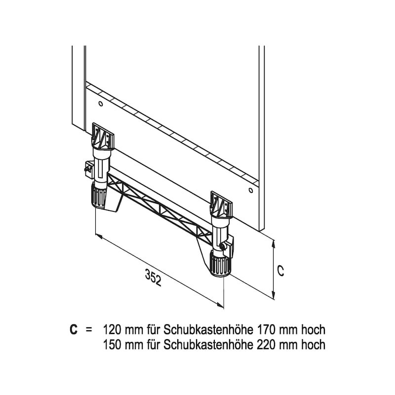 Sockelherdschublade - AUSZUG-USHRNK-SCKELHRDSL-170/100