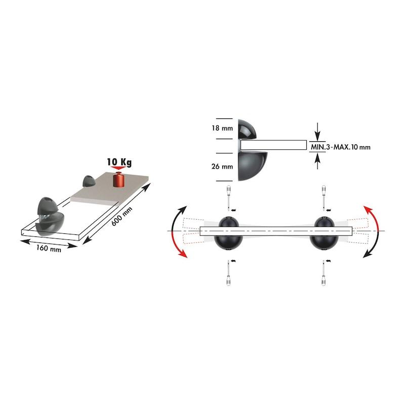 Kugeltablarträger - TABLARTRG-KUG-ZD-KLEIN-A2/FINISH