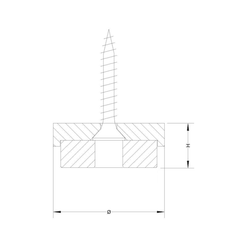Filz-Möbelgleiter mit Kreuzschlitzschraube - 2