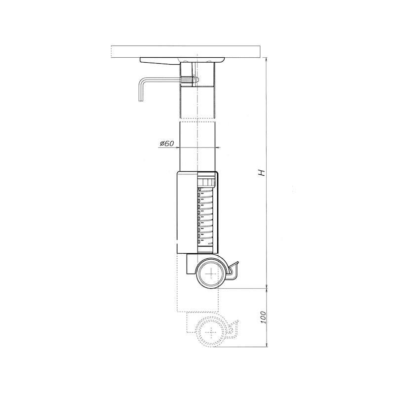 Tischbein mit Fußrolle - TIBEIN-ROLLE-ST-WEISSALU-D60-(650-750)