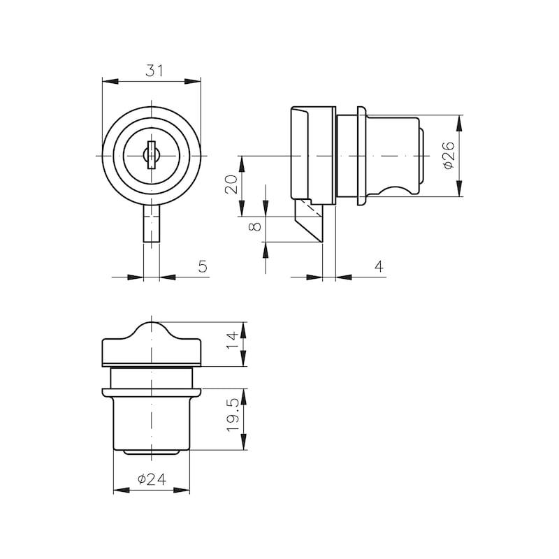 Glastürschloss MS 5000 - 2