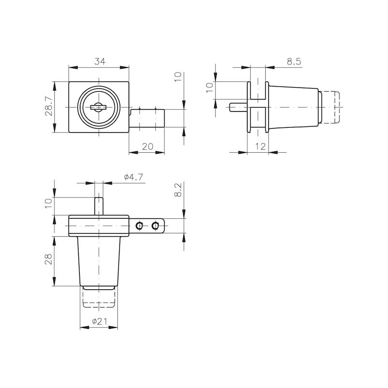 Glasschiebetürzylinder MS 5000 - 2