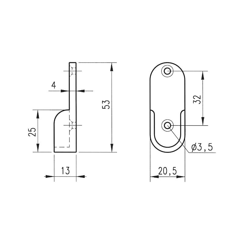 Schrankrohrlager oval - 2