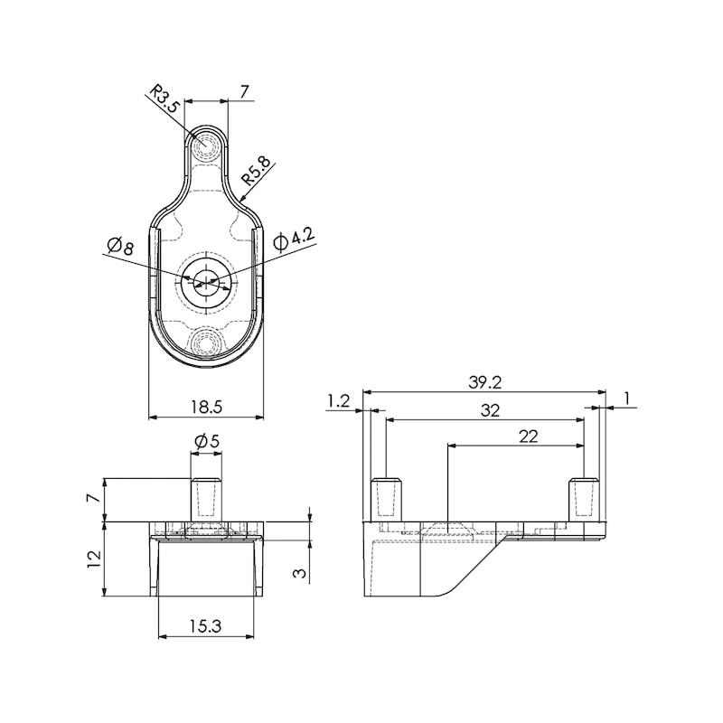 Schrankrohrlager oval mit Stift - 2
