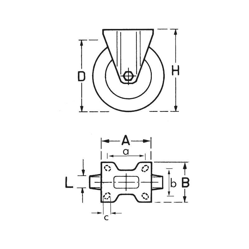 Apparateroller mit fester Halterung - APPARROLL-ANSHRPL-D160-180KG