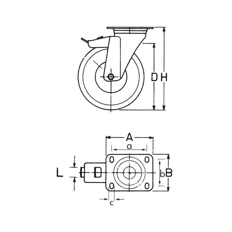 Transportgeräterolle mit drehbarer Halterung und Feststellbremse  - 2