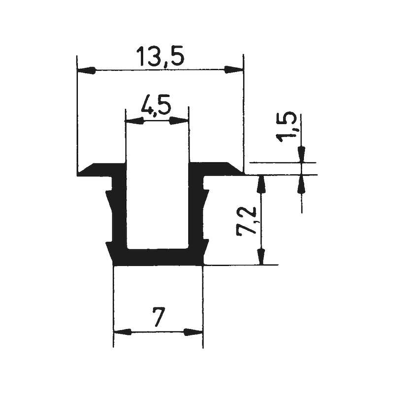 Führungsschiene Schiebetürbeschlag SB 20 E - ZB-FHRNGSHN-SHIEBTR/SB20E-PVC-GRAU-3M
