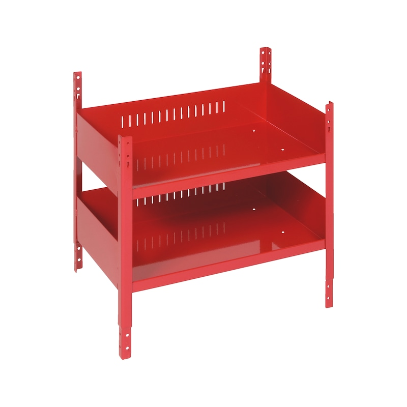 Double-compartment shelf ORSY<SUP>®</SUP> 1 shelving system - SHLFUNT-DB-PACKAGING-RED