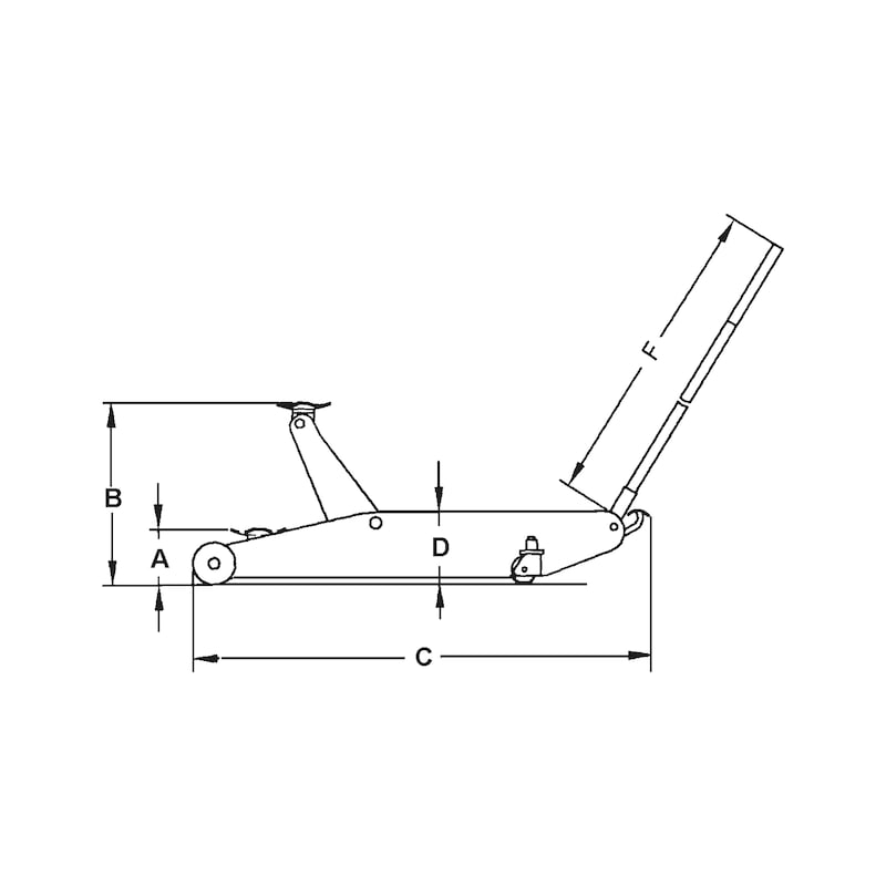 Cric hydraulique roulant RHC-2 - CRIC HYDRAULIQUE EXTRA PLAT 2T