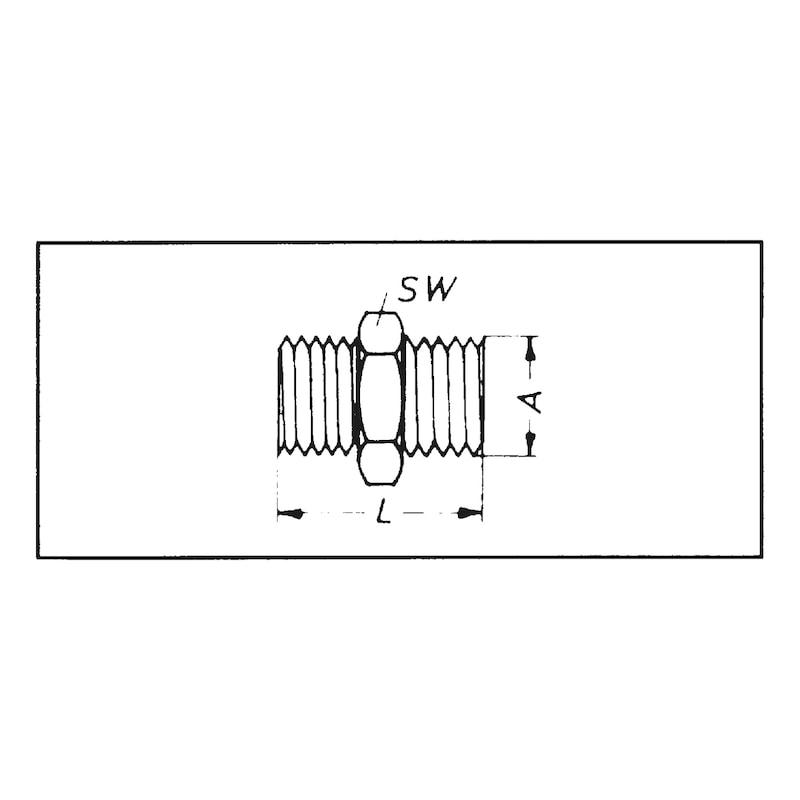 Doppelnippel mit Konus Druckluft - DPNPL-DL-KONUS-MS-SW17-G1/4ZO