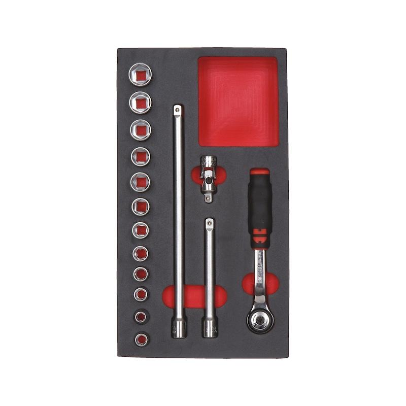 Zestaw kluczy nasadowych 3/8 cala - ZEST.KL.NASADOWYCH3/8 16 CZ. W PIAN
