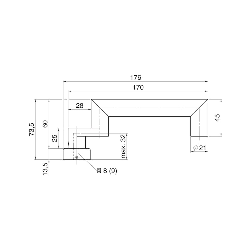 Türdrücker A 807 auf Ovalrosette - TD-A2-A807-OVAL-ROS-L/R-MATT