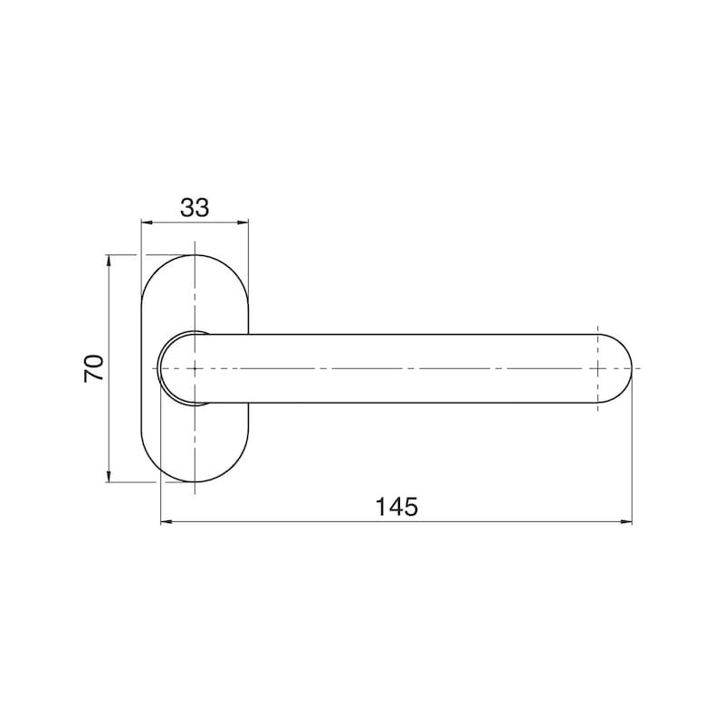 Türdrückerl A 802 auf Ovalrosette - TD-A2-A802-OVAL-ROS-L/R-MATT