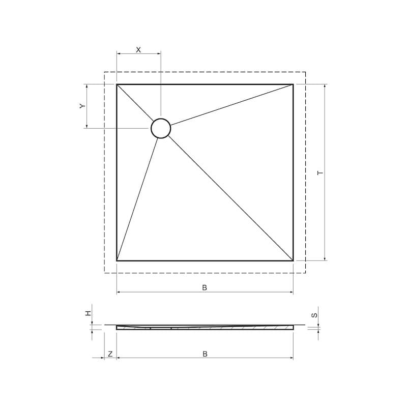 Duschboard Punkt superflach dezentral - 2
