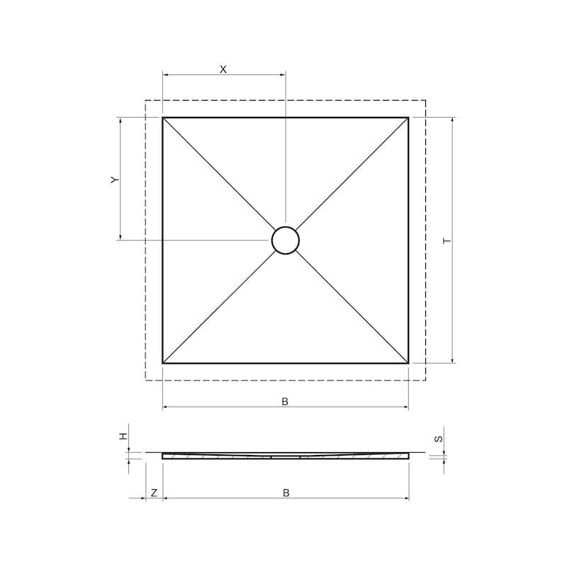 Duschboard Punkt superflach zentral - 2