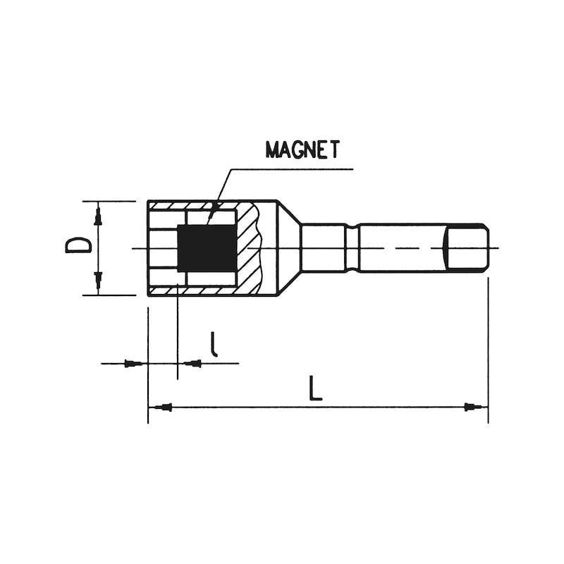Steckschlüssel-Einsatz Ø 7 mm - KFTSTESHSL-MAGN-7MM-L51MM-SW10