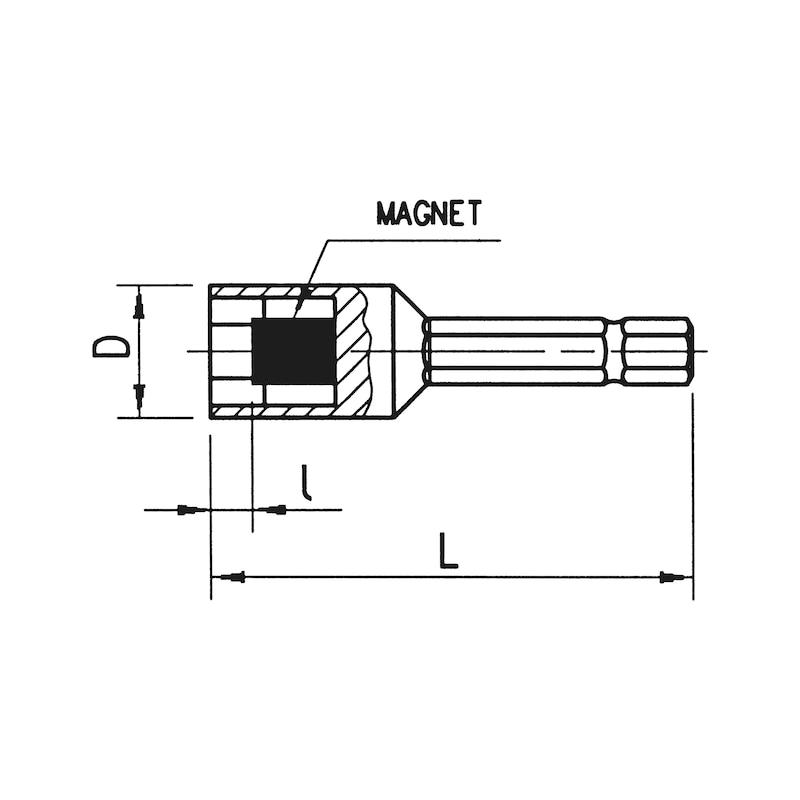 Dopsleutel-inzetstuk, 1/4 inch - TEKSDOP, SCHROEFDOP MAG, 7MM