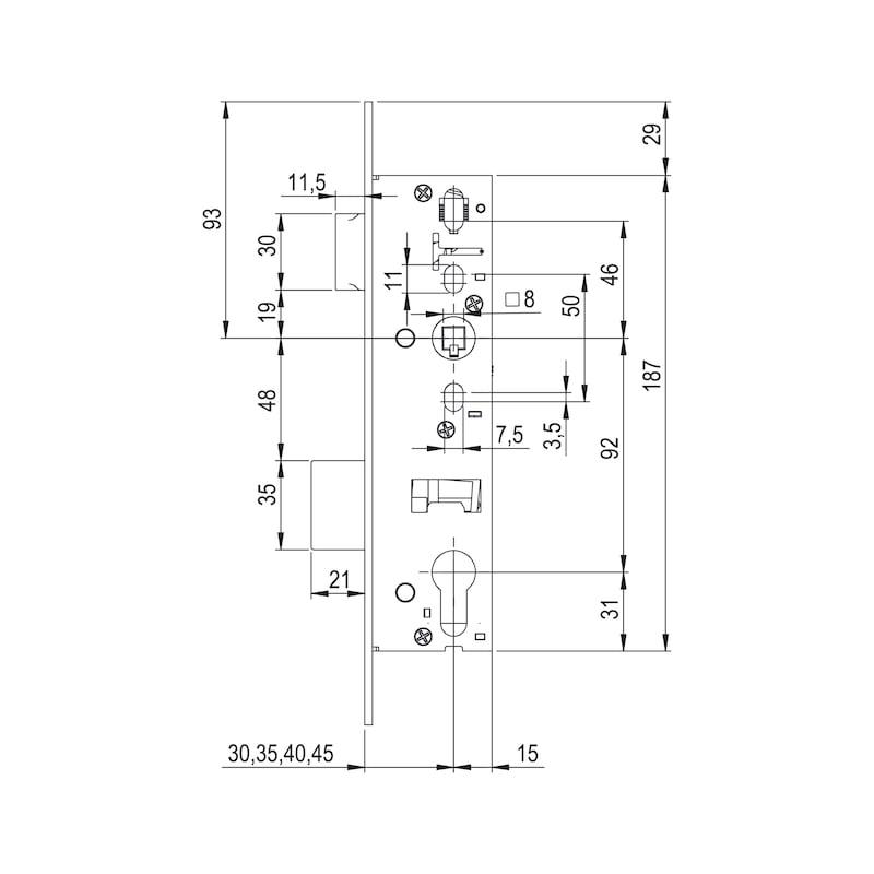Rohrrahmen-Einsteckschloss RR02 - 2