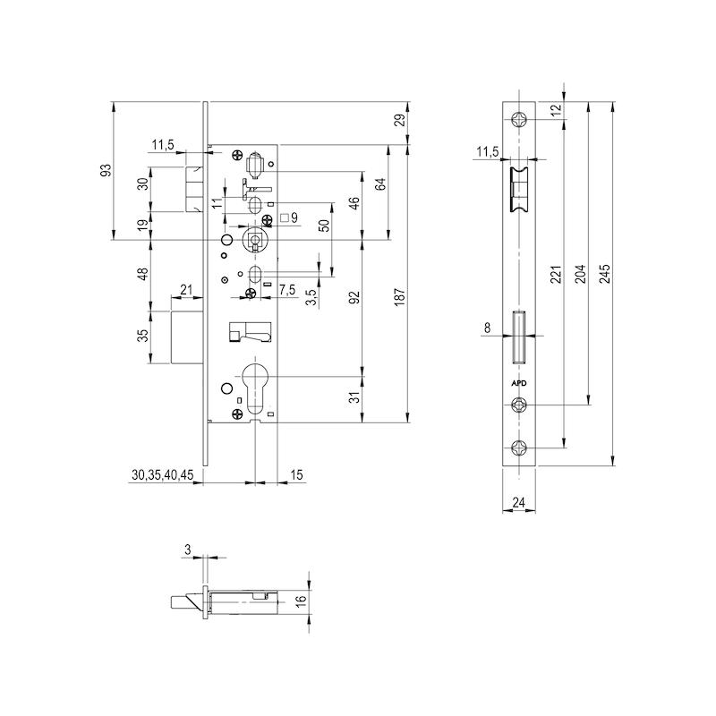 Panik-Rohrahmen-Einsteckschloss RR02 - 2