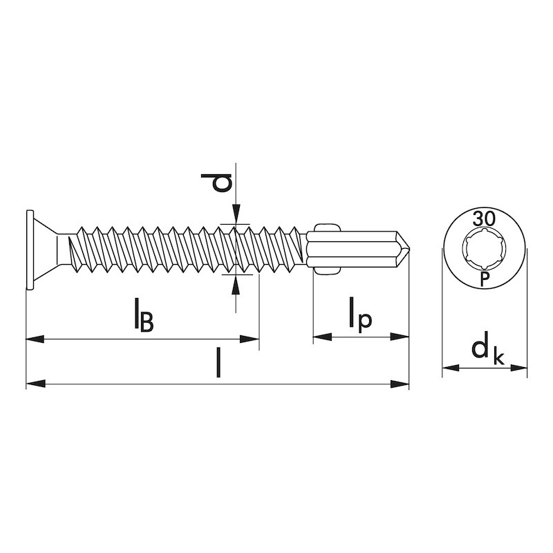 Flügel-Bohrschraube Tellersenkkopf mit AW-Antrieb pias<SUP>®</SUP> - 2