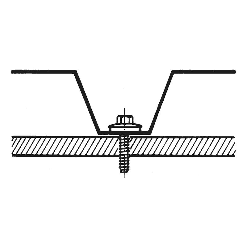 Fassadenbauschraube mit Sechskantkopf und Dichtscheibe Faba<SUP>®</SUP> Typ BZ - SHR-BZ-SHB16-SW3/8-(A2K)-6,3X19