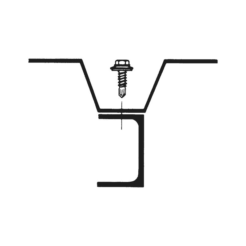 Selbstbohrende Fassadenbauschraube mit Sechskantkopf und Dichtscheibe pias<SUP>®</SUP> - SHR-BSP-SHB19-SW10-(A3K)-6,3X45