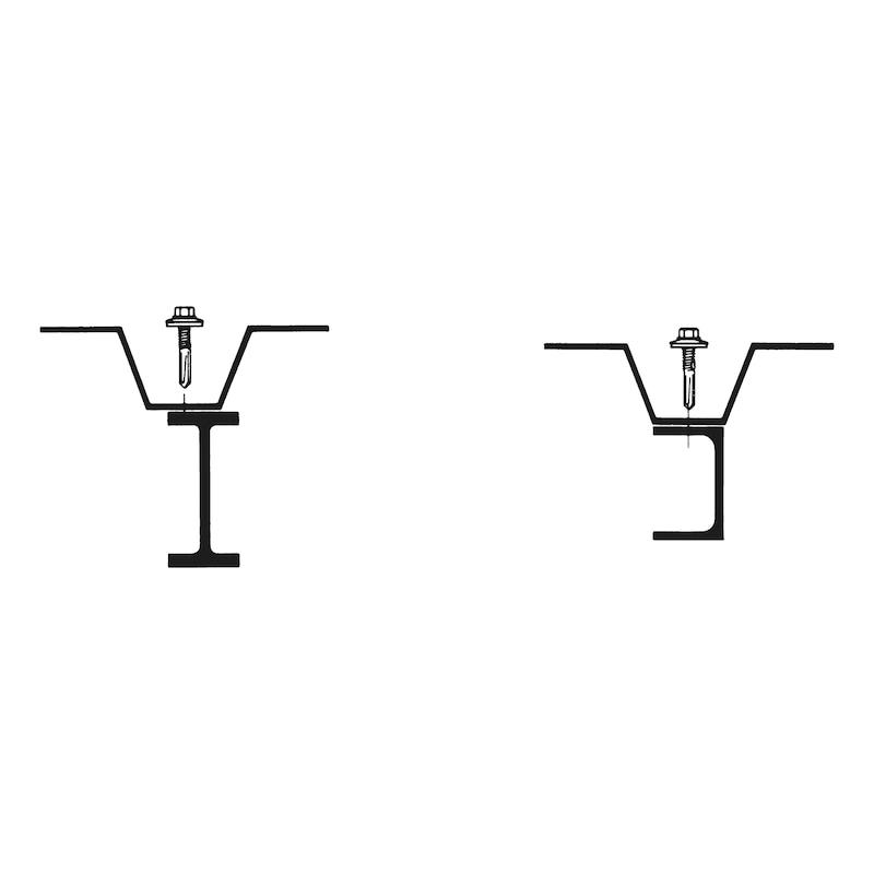 Selbstbohrende Fassadenbauschraube mit Sechskantkopf, Flansch und überlanger Bohrspitze piasta<SUP>®</SUP> - SHR-BSPL-SW8-(RUS)-5,5X38