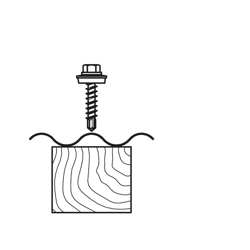 Bohrschraube Sechskantkopf mit Holzgewinde und Dichtscheibe piasta<SUP>®</SUP> - 5