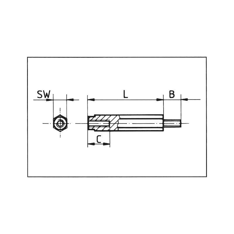 Abstandsbolzen Polyamid sechskant I/A - BLZ-ABST-PA6-I/A-SW10-M5X19-10-8