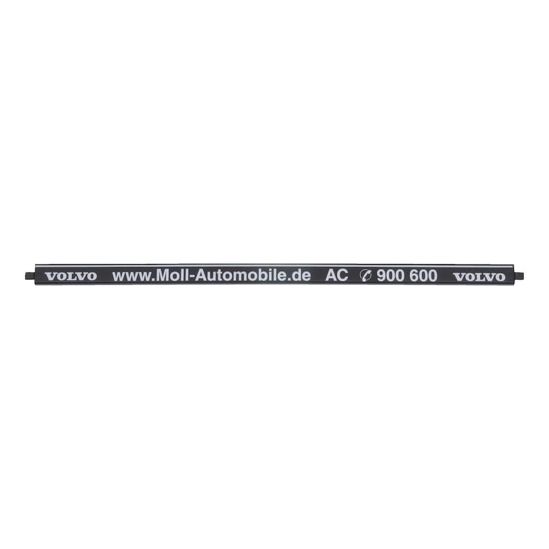 Strip for number plate holder Clipster, printed - NPH-PRNT-STRIP-CLIPSTER-SILVER-POSITIV