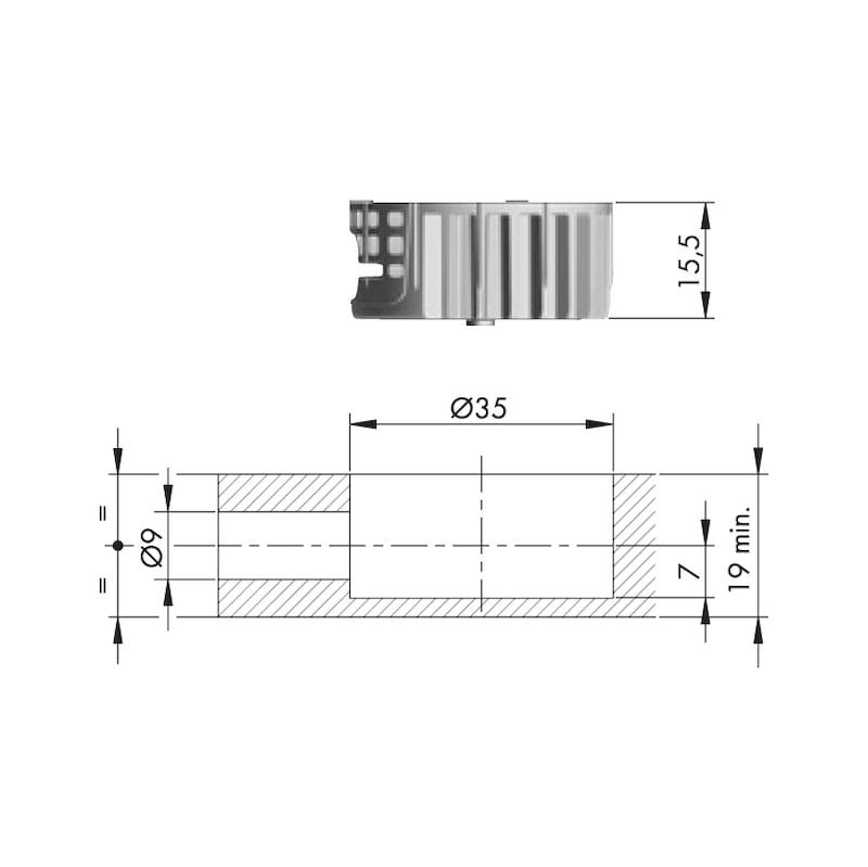 Ligador espiral Ø35 mm / M8 - LIGADOR ESPIRAL D35MM