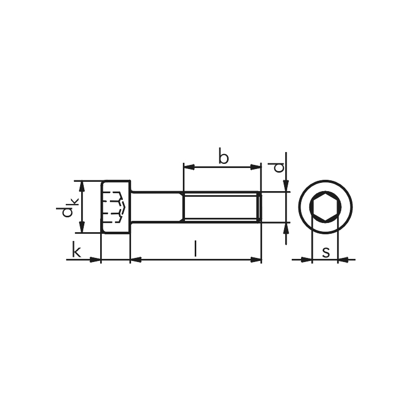 Винт с цилиндрической головкой и внутренним шестигранником под ключ - ВИНТ-DIN912-8.8-IS2,5-A2K-M3X4