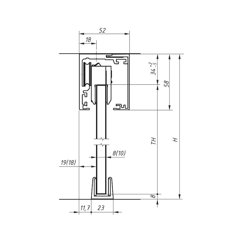 Zimmerschiebetürbeschlag-Set  ABILIT 50-G - 3