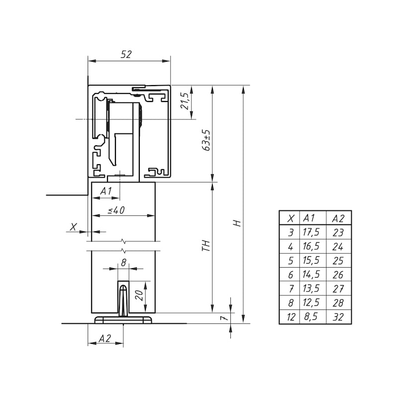 Zimmerschiebetürbeschlag-Set ABILIT 120-H - 2