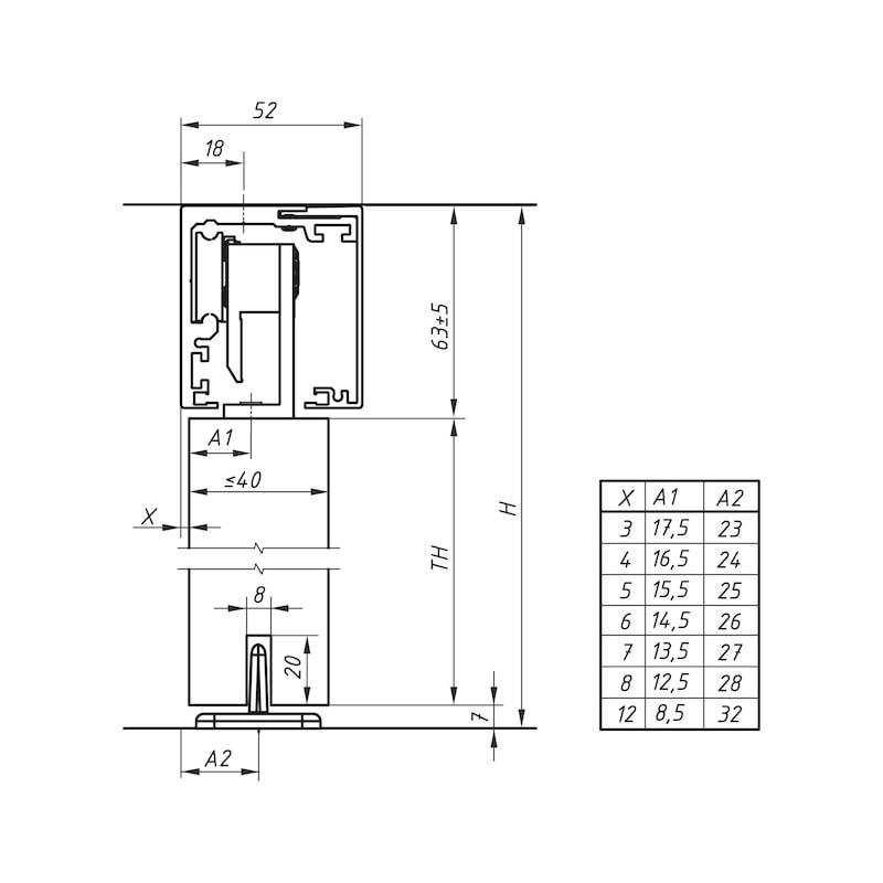 Zimmerschiebetürbeschlag-Set ABILIT 120-H - 3