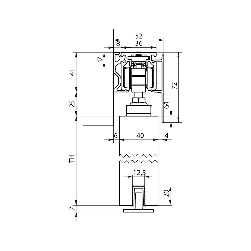 Zimmerschiebetürbeschlag-Set SCHIMOS 80-HS - 4