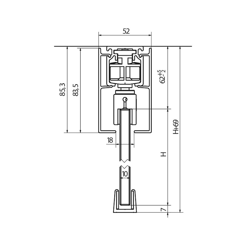 Zimmerschiebetürbeschlag-Set SCHIMOS 80-GS - 2