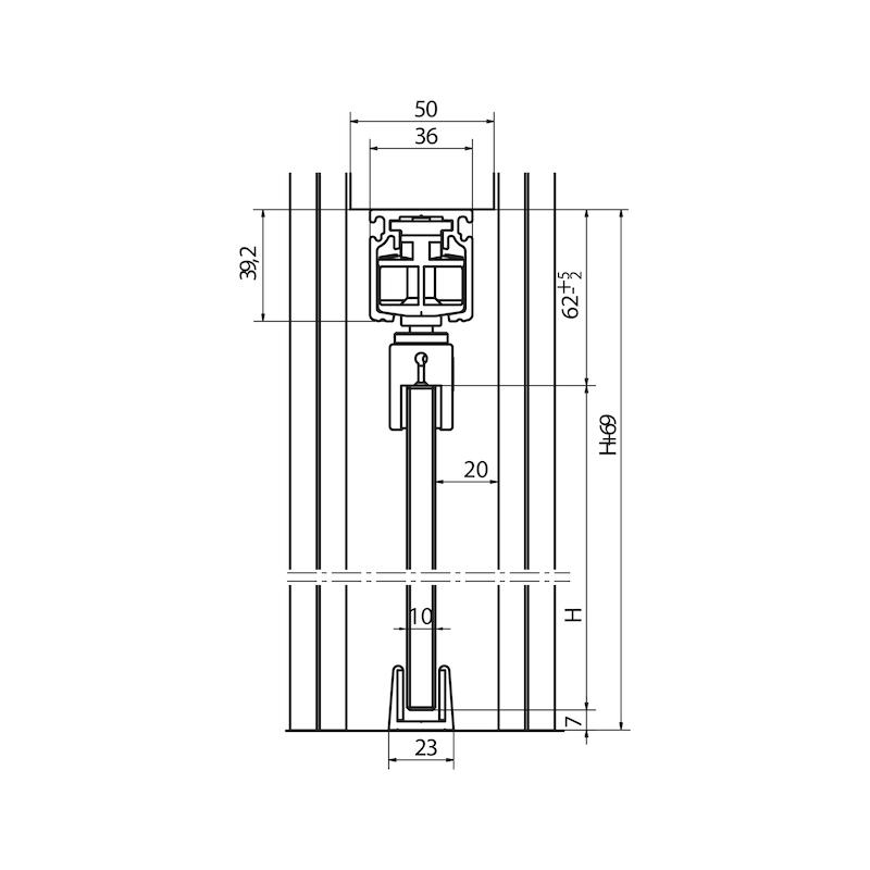 Zimmerschiebetürbeschlag-Set SCHIMOS 80-GS - 3
