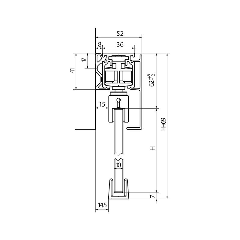 Zimmerschiebetürbeschlag-Set SCHIMOS 80-GS - 4