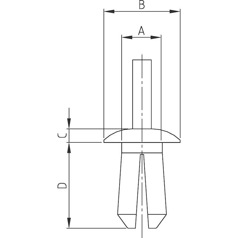 プラスチック拡張リベット タイプ1 - クリップ プラスティーリベット5 0.8×4.5