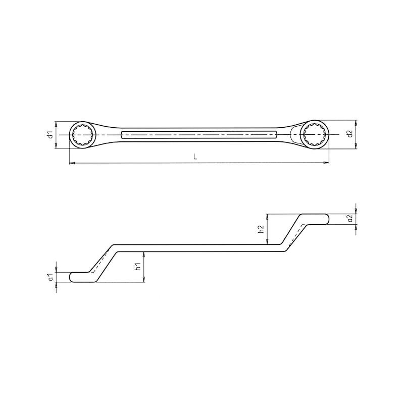 Double ring wrench, deep offset - DBRGSPN-METR-OFFSET-14X15