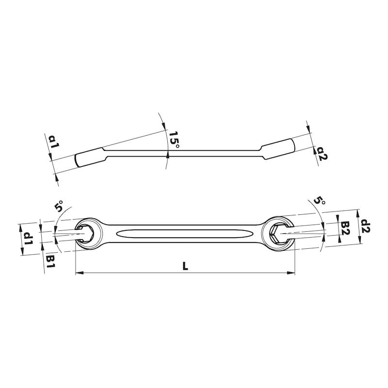 Offener Doppelringschlüssel 12-kant - 2