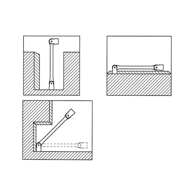 ダブルジョイント式ソケットレンチ - フレックスソケットスパナ 14X15