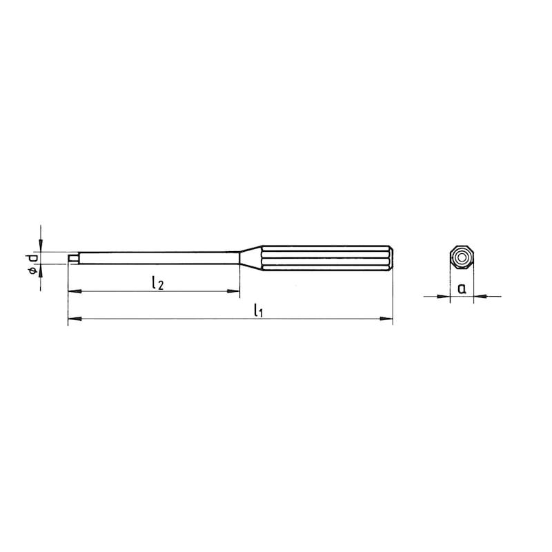 Schlagwerkzeug Splinttreiber mit Führungszapfen nach DIN 6450 - 2