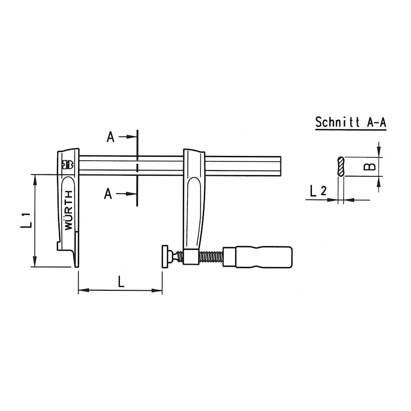 Screw clamp, malleable cast iron - SCRCLMP-TG-250X120MM-2K-GRP