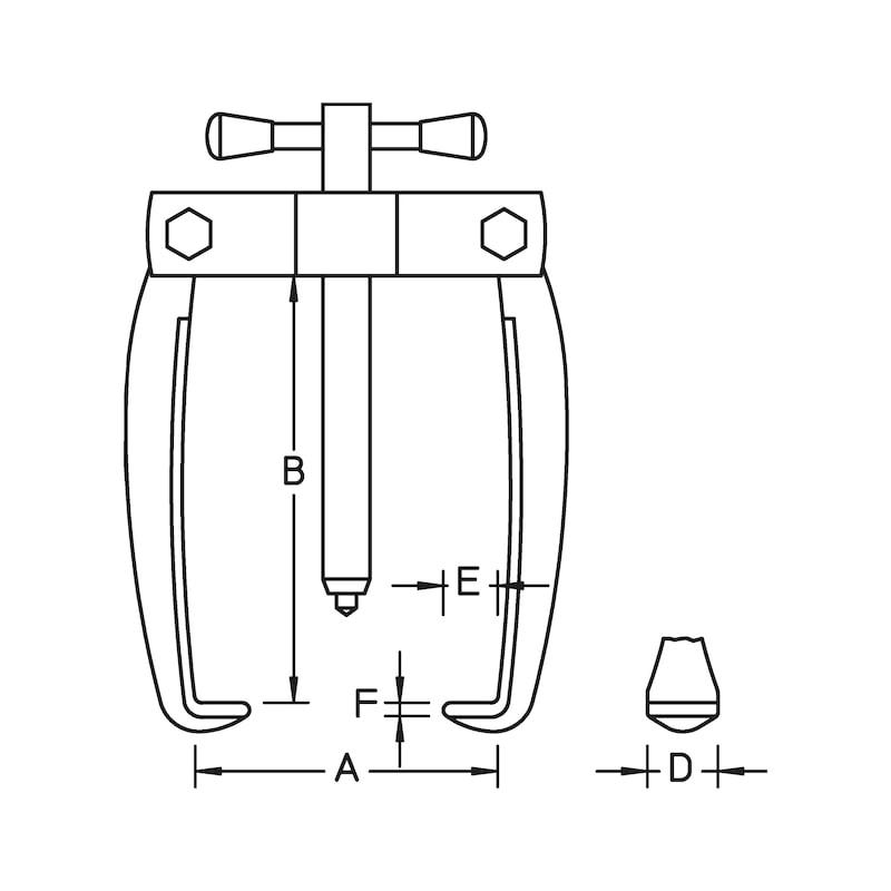 Polklemmen-Abzieher zweiarmig Spannweite 65 mm - 3