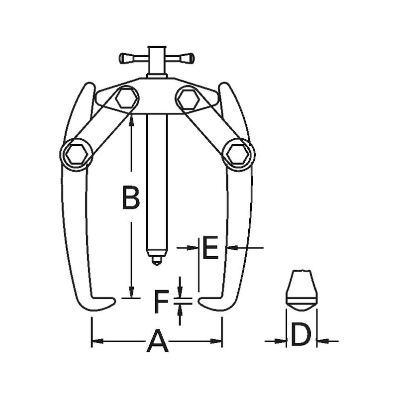 Polklemmen-Abzieher zweiarmig Spannweite 60 mm - 2