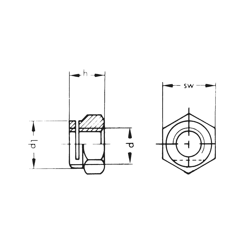 排気すり割り付きナット、小型レンチサイズ - マニホールドナット M6 AF10MM