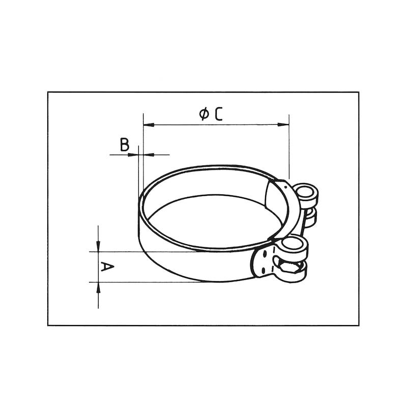 Gelenkbolzenschelle Form C1, W2 - GLKBLZSHEL-DIN3017-C1-W2-(68-73)-25